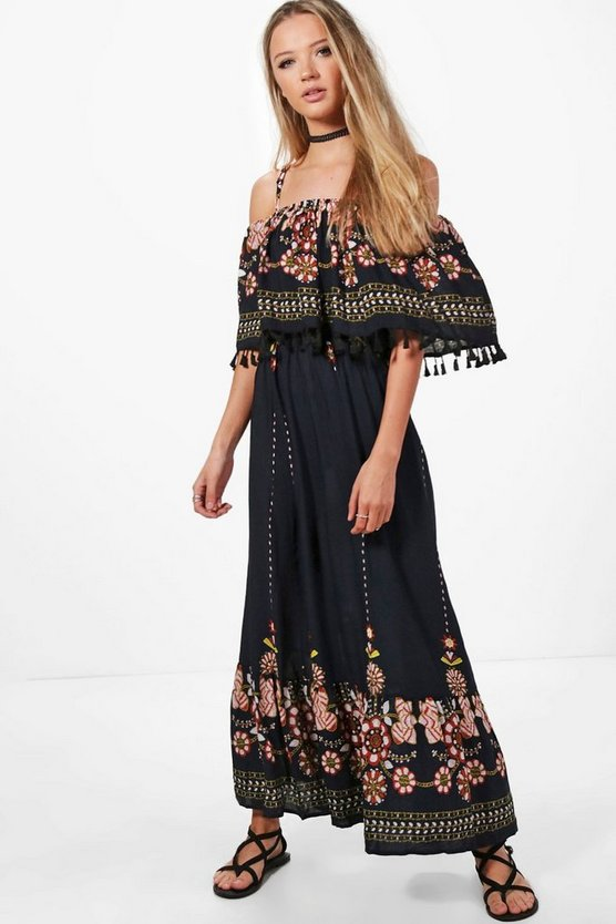 Jen Printed Embroidered Tassel Maxi Dress