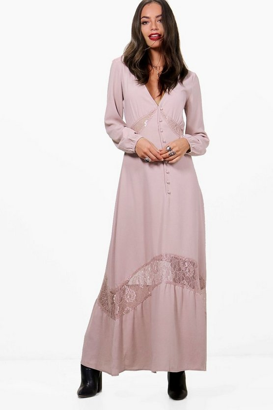 Lace Insert Button Detail Maxi Dress
