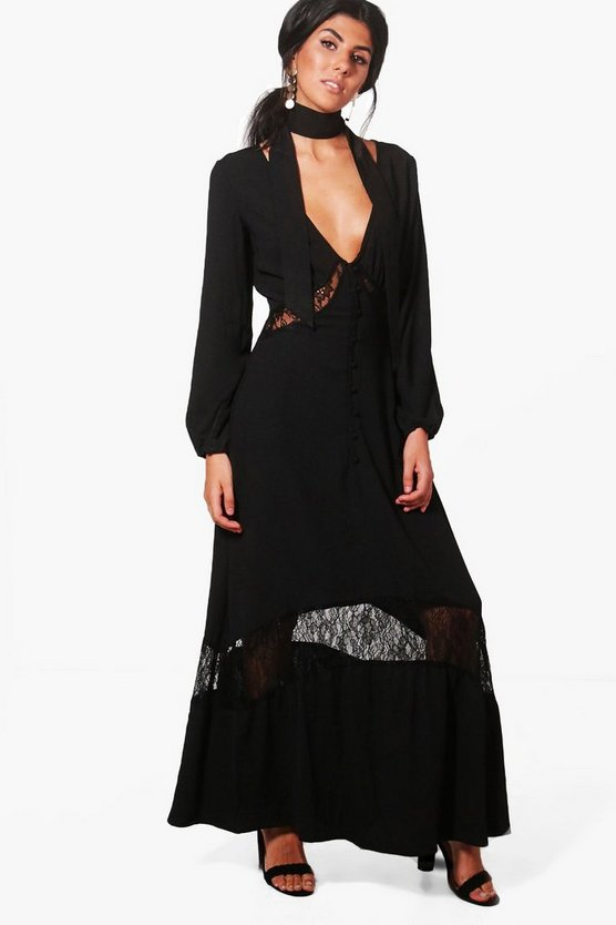 Clarice Lace Insert Button Detail Maxi Dress