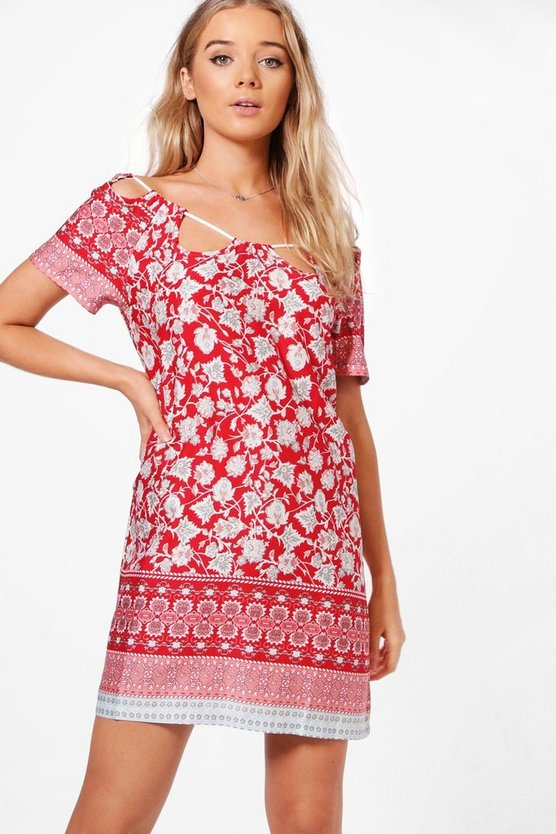 Val Cut Out Neck Border Print Shift Dress