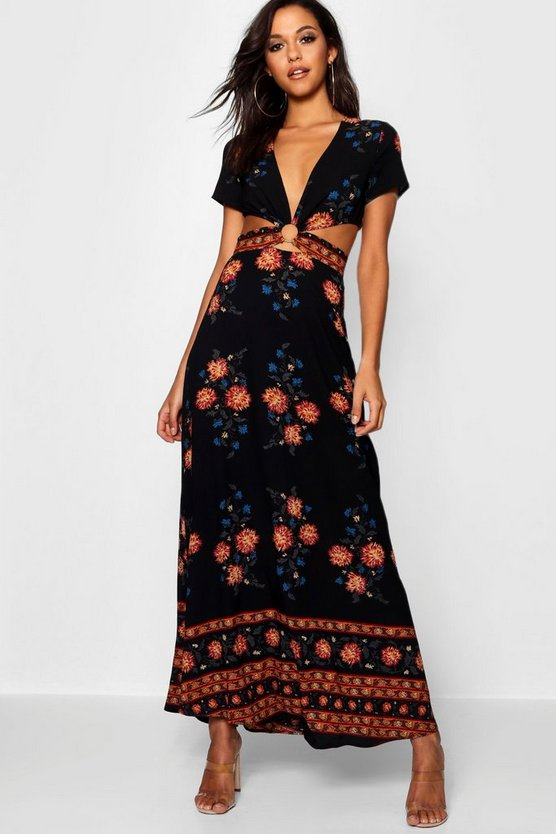 Nelly Cut Out Border Print Floral Maxi Dress