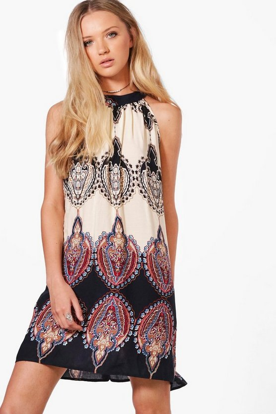 May Paisley Print A-line Swing Dress