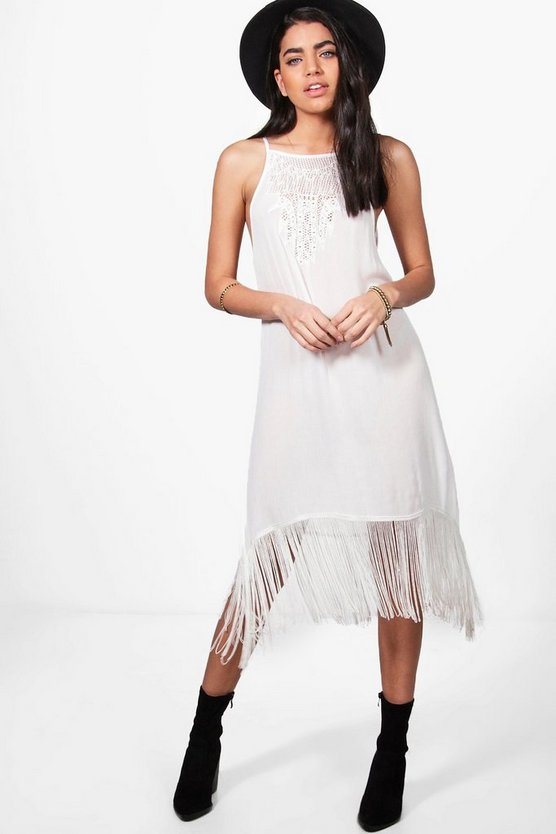 Janie Strappy Fringed Slip Dress