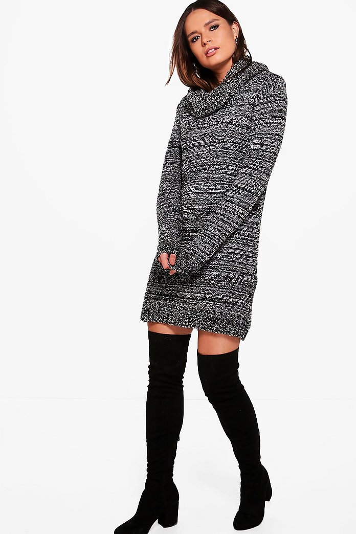 Tia Marl Cowl Neck Jumper Dress