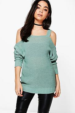 Anna Strap Cold Shoulder Jumper