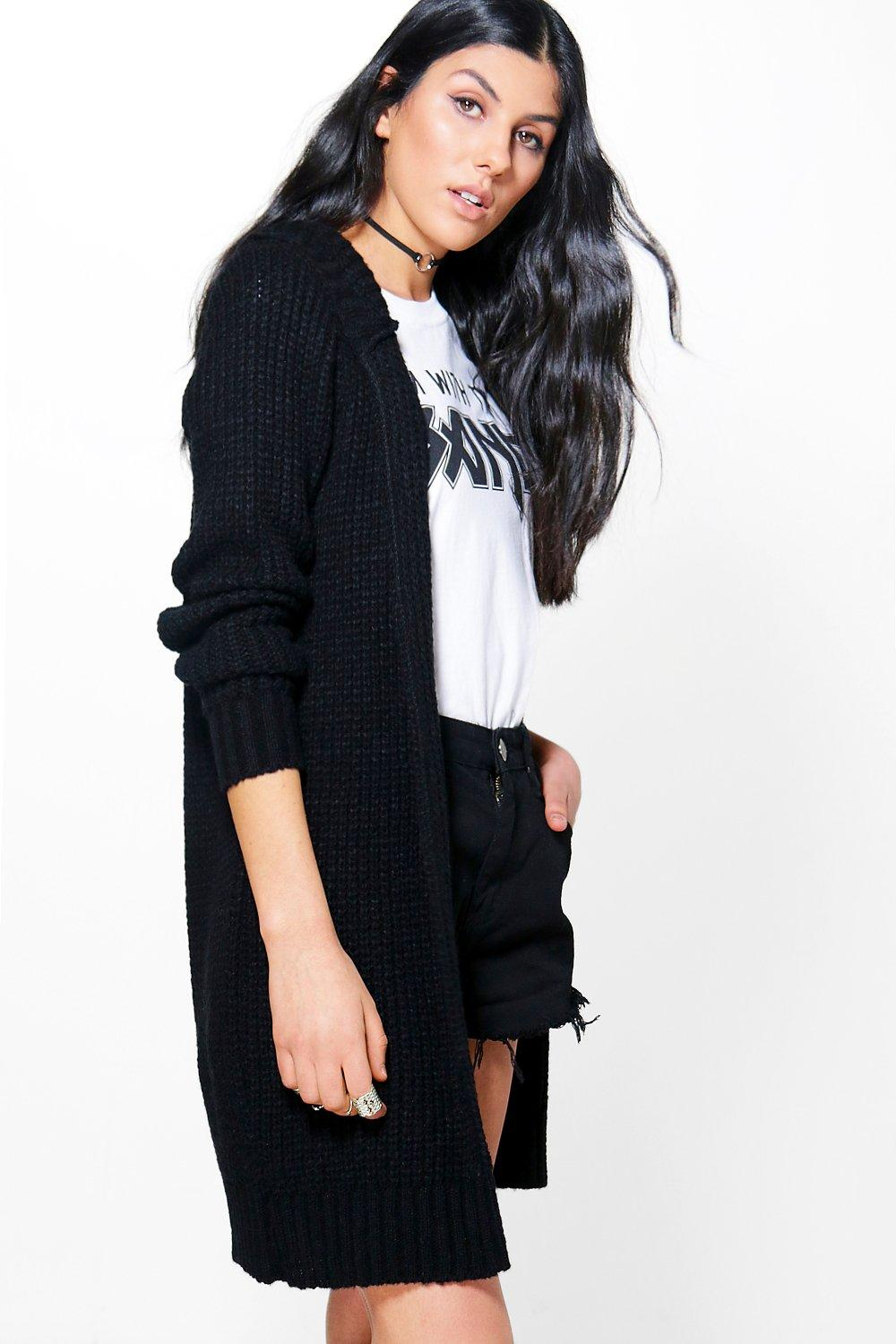 Soft Knit Hooded Long Cardigan  black