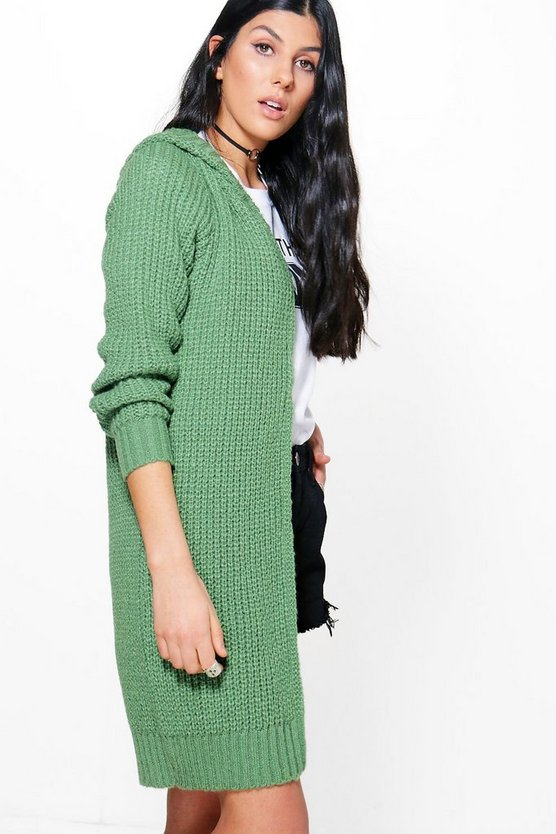 Aliyah Soft Knit Hooded Long Cardigan