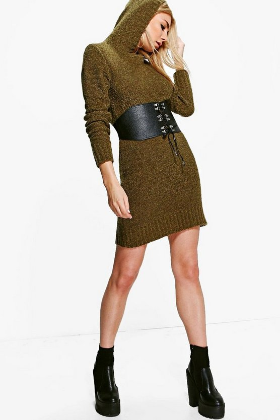 Marin Soft Knit Hooded Jumper Dress