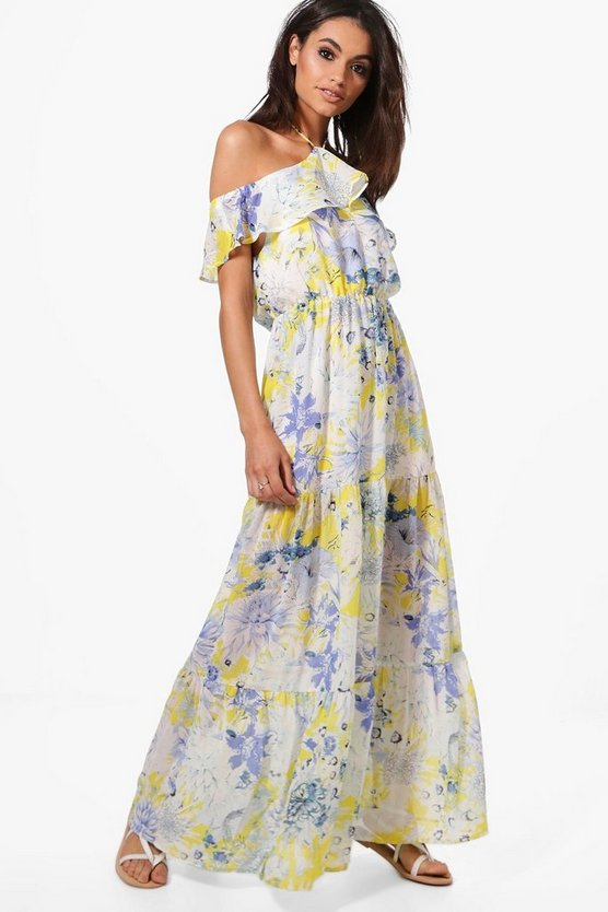 Annabel Cold Shoulder Floral Maxi Dress