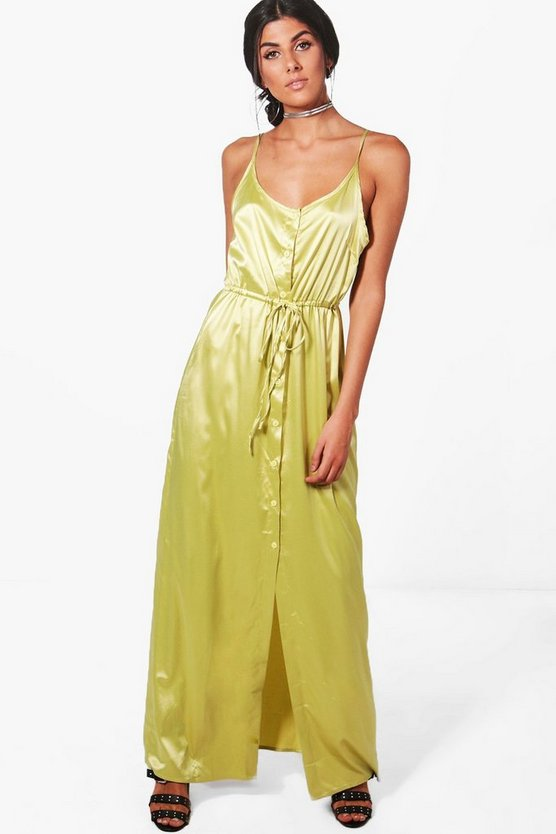 Suzie Satin Strappy Button Maxi Dress