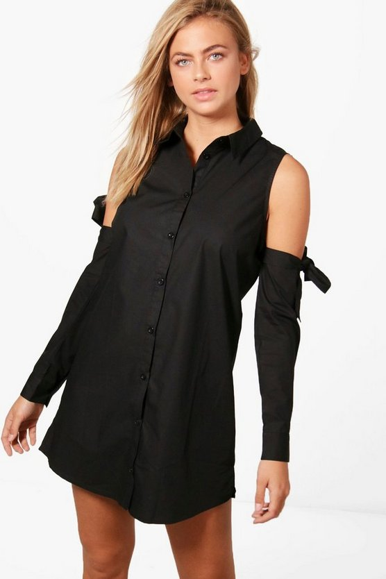 Katy Cold Shoulder Tie Sleeve Shirt Dress