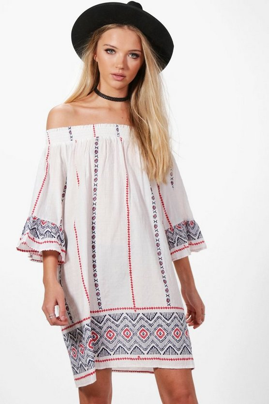 Oana Off Shoulder Flute Sleeve Shift Dress