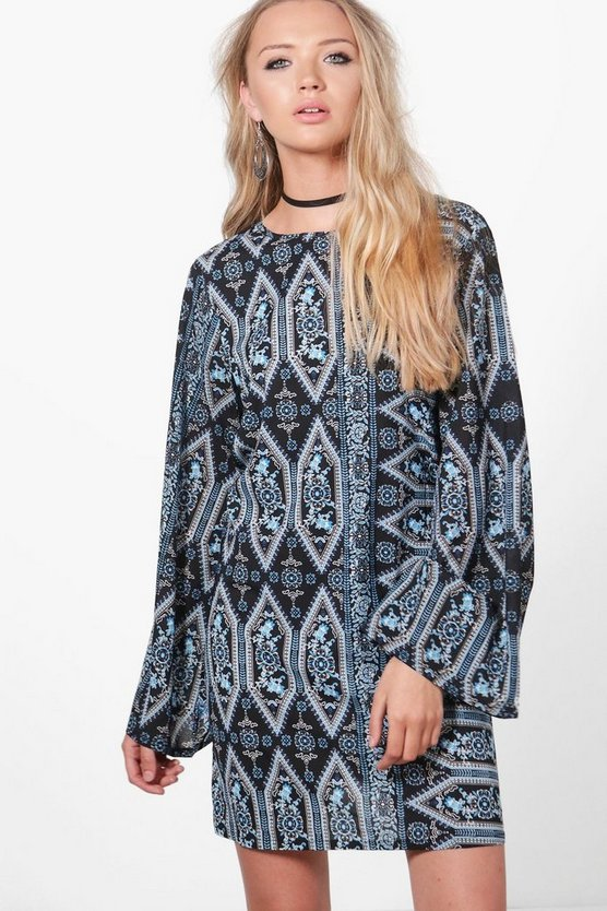 Alice Paisley Low Back Flute Sleeve Shift Dress