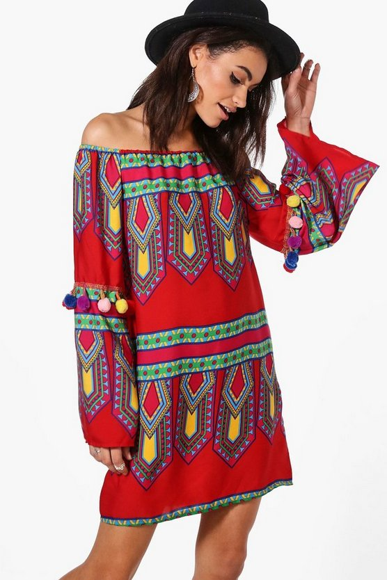 Sia Pom Pom Off Shoulder Shift Dress