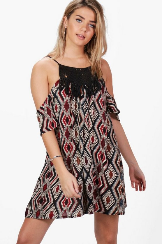 Robyn Aztec Crochet Trim Cold Shoulder Swing Dress