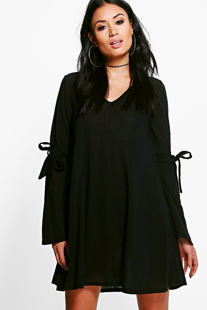 Hannah tie detail swing jumper dress