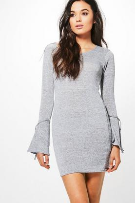 Phoebe Tie Flute Sleeve Knitted Dress