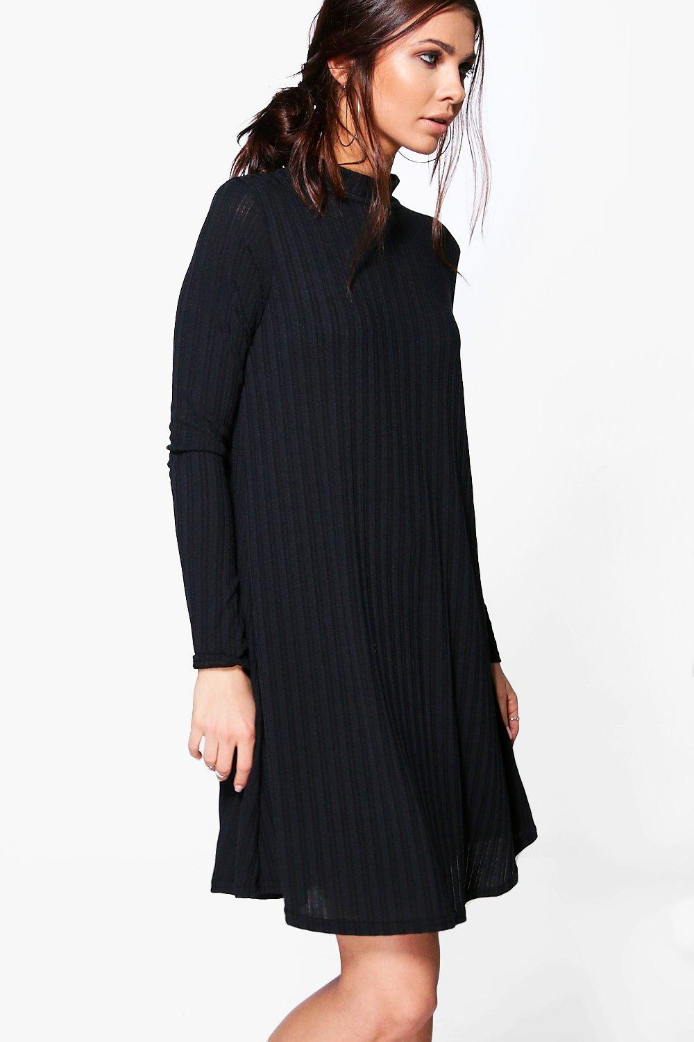High Neck Rib Knit Swing Dress  black