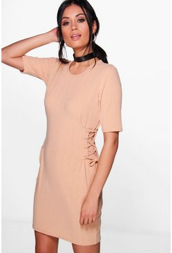 Emma Lace Up Corset Rib Knit T-Shirt Dress