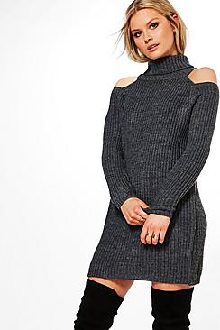 Anna Roll Neck Cold Shoulder Jumper Dress