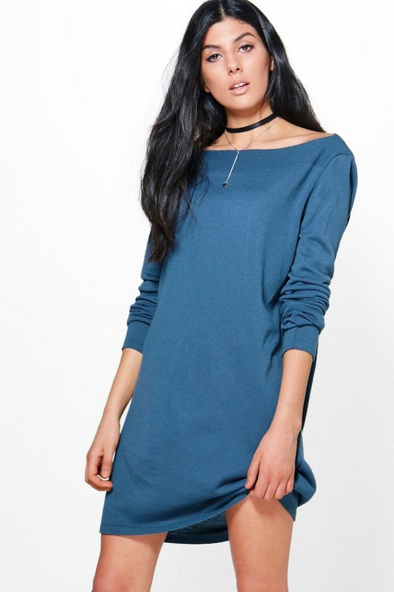 Rachel Rib Bardot Neck Soft Knit Jumper Dress
