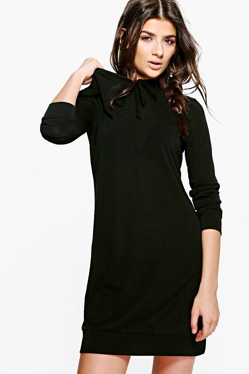 Hooded Knitted Lounge Dress  black