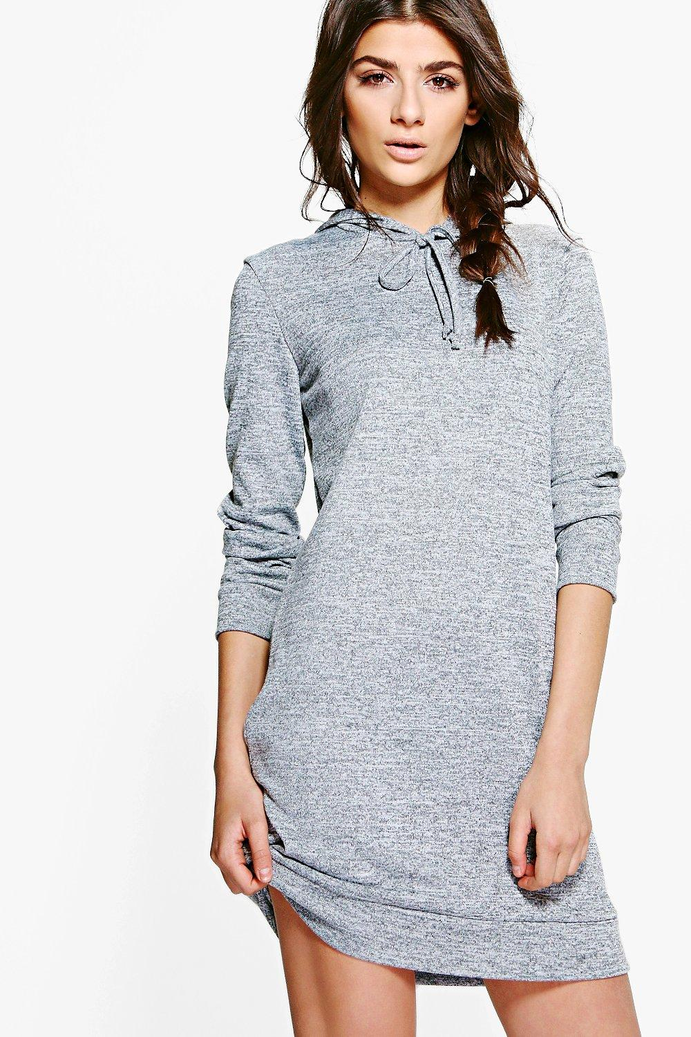 Hooded Knitted Lounge Dress  grey