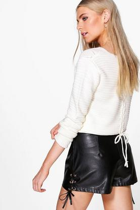 Melissa Lace Up Back Cable Crop Jumper
