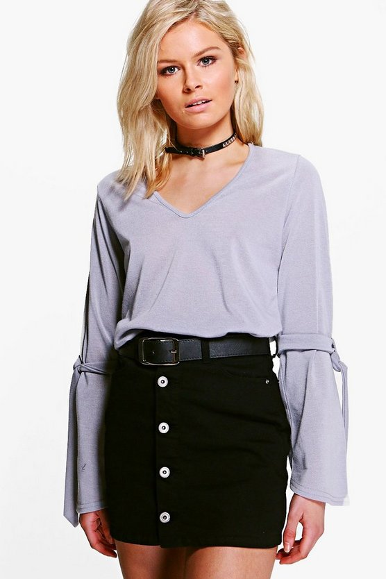 Zoe Tie Detail Sleeve Fine Knit Jumper