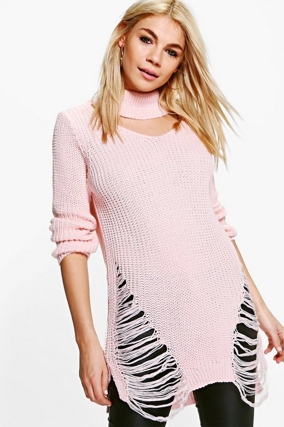 Lydia Laddered Choker Jumper