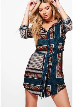 Philly Paisley Border Print T-Shirt Dress