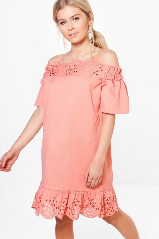 Daisy Cutwork Flute Sleeve Off Shoulder Dress