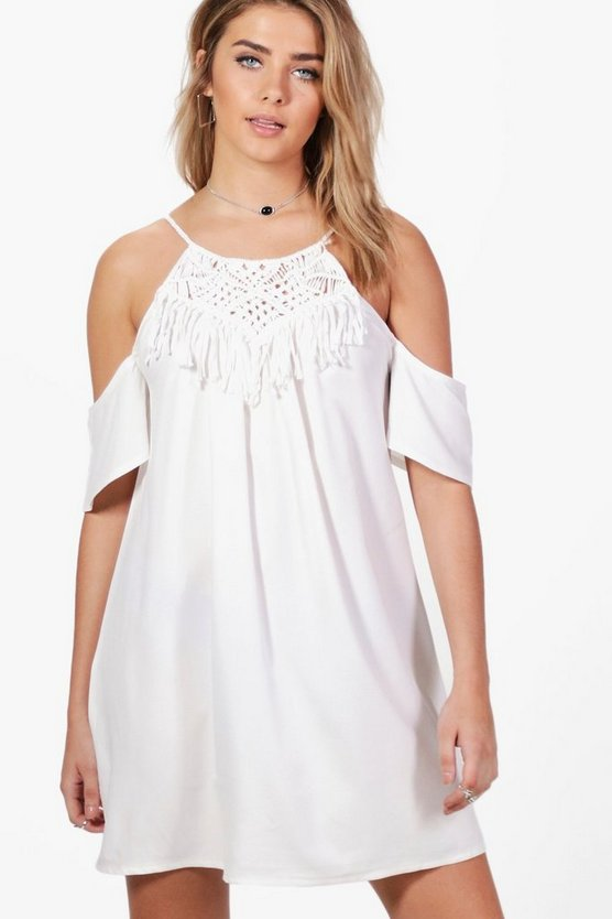 Lola Crochet Trim Cold Shoulder Flute Swing Dress