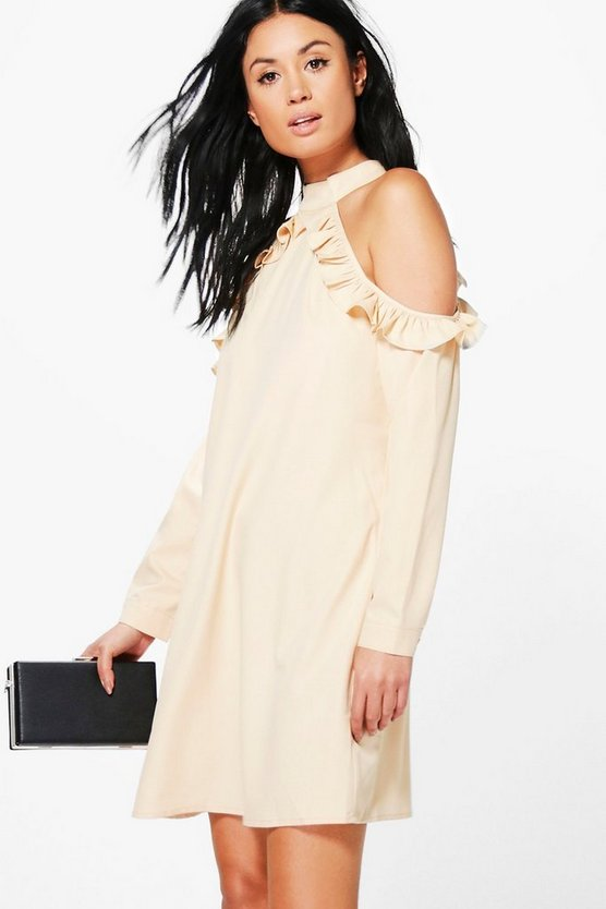 Lia Cold Shoulder Ruffle Sleeve Shift Dress