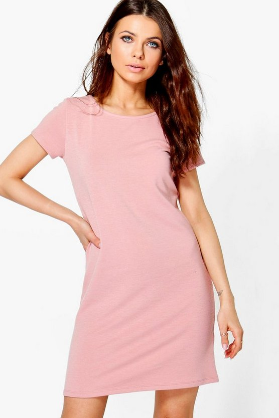 Jasmine Sweat Fabric Cap Sleeve Shift Dress