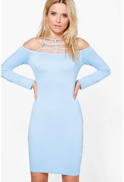 Isobel Cage Neck Detail Off The Shoulder Dress