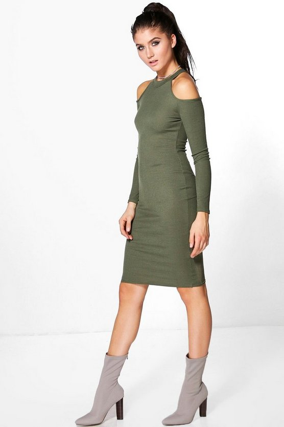 Hayley Cold Shoulder Ribbed Midi Dress