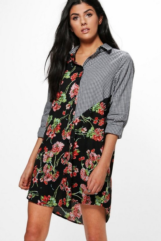 Sophie Mixed Print Shirt Dress