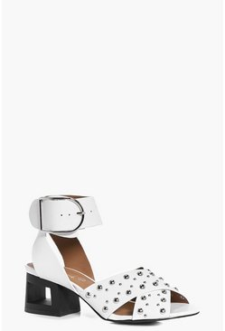 Tia Studded Cut Heel Buckle Sandal