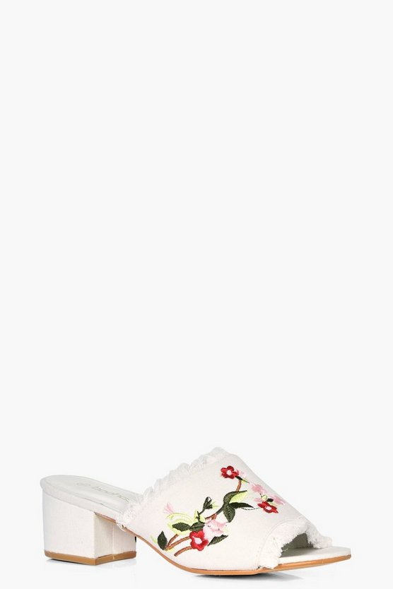 Ella Embroidered Wide Fit Mules