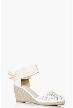 Olivia Lace Toe Ribbon Tie Espadrille Wedge