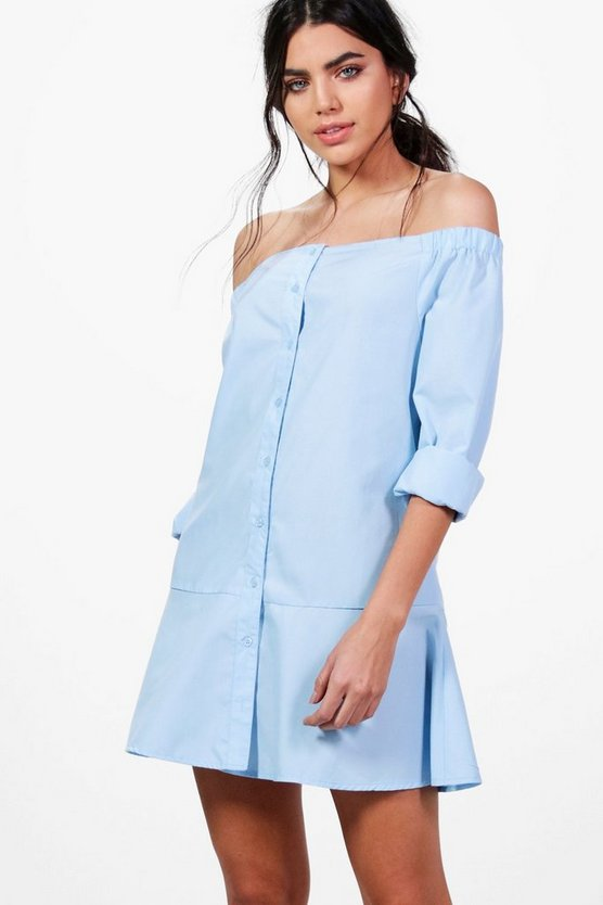Katy Off the Shoulder Peplum Shirt Dress