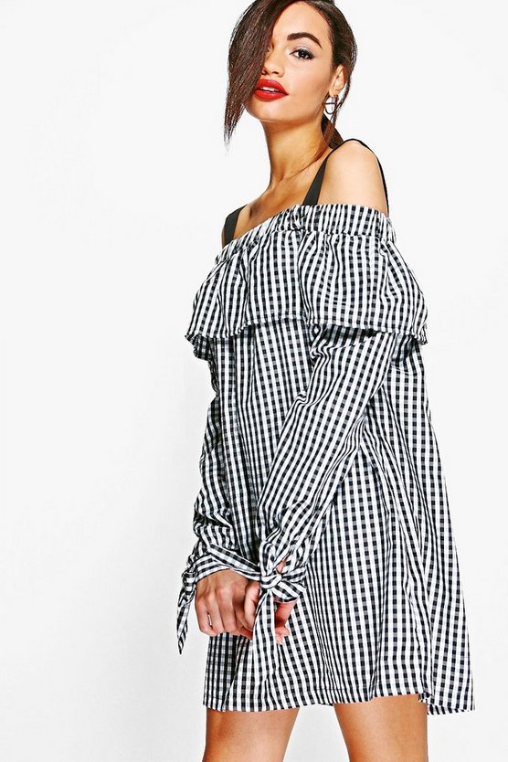 Julia Gingham Off Shoulder Tie Smock Dress