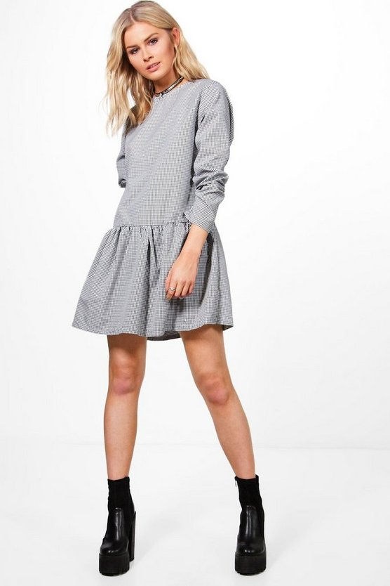 Gingham Drop Hem Smock Dress