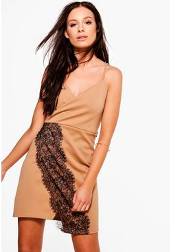 Carmellita Lace Trim Wrap Mini Dress