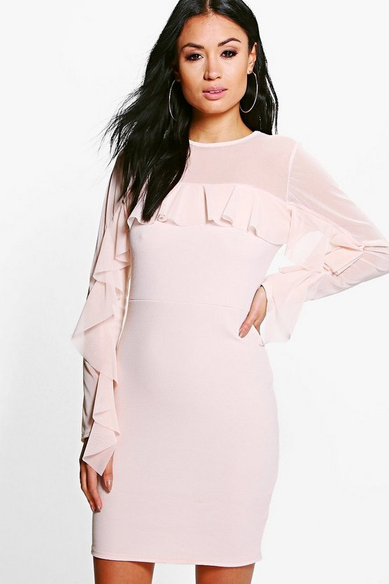 Antoinette Soft Ruffle Frill Midi Dress