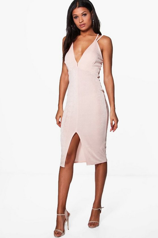 Elizabetta Strappy Midi Dress With Slit
