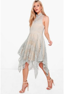 Boutique Cleo Crochet Hanky Hem Skater Dress
