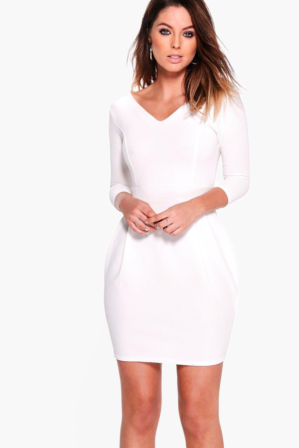 Textured Fabric V Neck Tulip Dress  ivory
