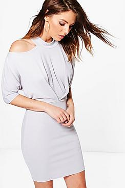 Cesca Cold Shoulder Detail Bodycon Dress